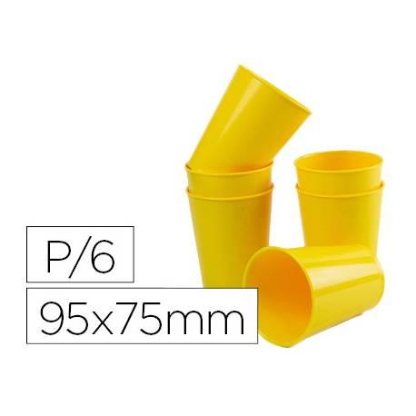 Vaso ABS amarillo 95x75 mm Borde grueso redondeado