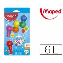 Lápices cera Maped Color Peps Baby Crayon 6 colores surtidos