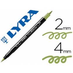 Rotulador Lyra aqua brush acuarelable doble punta fina y punta pincel verde musgo