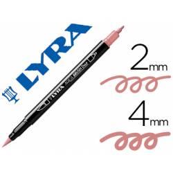Rotulador Lyra aqua brush acuarelable doble punta fina y punta pincel rosa carmin