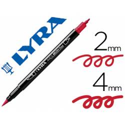 Rotulador Lyra aqua brush acuarelable doble punta fina y punta pincel rojo pompeya