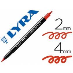Rotulador Lyra aqua brush acuarelable doble punta fina y punta pincel rojo geranio
