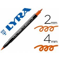 Rotulador Lyra aqua brush acuarelable doble punta fina y punta pincel naranja oscuro