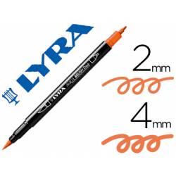 Rotulador Lyra aqua brush acuarelable doble punta fina y punta pincel naranja claro