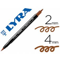 Rotulador Lyra aqua brush acuarelable doble punta fina y punta pincel marron van-dyck