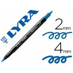 Rotulador Lyra aqua brush acuarelable doble punta fina y punta pincel azul prusia