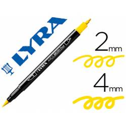 Rotulador Lyra aqua brush acuarelable doble punta fina y punta pincel amarillo limon