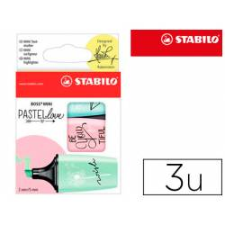 Rotulador Stabilo Boss Mini Pastellove Estuche 3 Unidades Pizca de menta/rubor rosa/toque de turquesa
