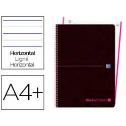 Cuaderno Oxford Ebook 1 A4+ Negro y Rosa Tapa Plastico Rayado Horizontal