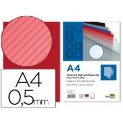 Tapa de Encuadernacion Polipropileno Rayado Liderpapel DIN A4 Rojo 0.5mm pack 100 uds