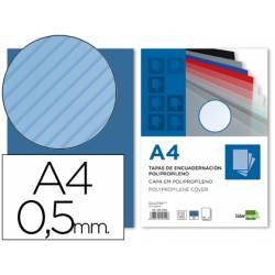 Tapa de Encuadernacion Polipropileno Rayado Liderpapel DIN A4 Azul 0.5mm pack 100 uds