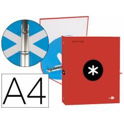 Carpeta 4 anillas 25mm Liderpapel Antartik A4 rojo carton forrado