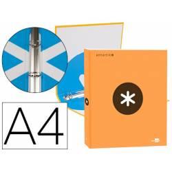 Carpeta 4 anillas 25mm Liderpapel Antartik A4 naranja carton forrado