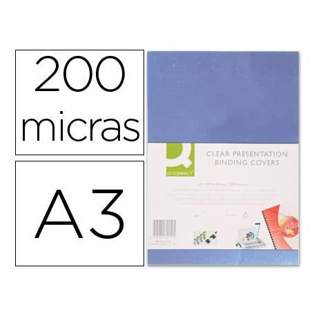 Tapa de Encuadernacion PVC Q connect Din A3 Incolora 200MC pack 100 uds