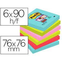 Bloc Quita y Pon Post-It ® Super Sticky 76X76 mm Miami