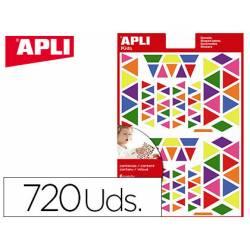 Gomets APLI autoadhesivo triangulo multicolor