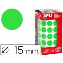 Gomets Apli circulares color verde 15mm