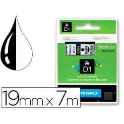 Cinta Dymo D1 color negro y transparente 19mm x 7 mt