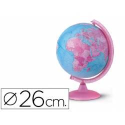 Globo terraqueo geo-politico rosa y azul