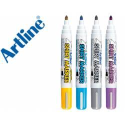 Pack rotuladores para tela textil Artline colores amarillo azul gris violeta