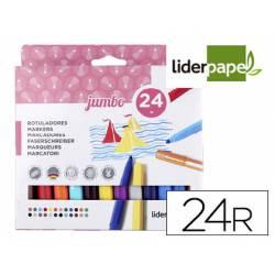 Rotuladores Liderpapel Jumbo grusa caja de 24 colores