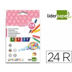 Rotuladores Liderpapel fino lavable caja 24 colores