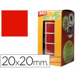 Gomets Apli cuadrados rojos 20x20mm