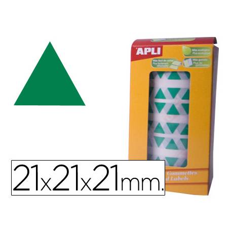 Gomets Apli triangulares color Verde 21x21x21mm