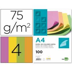 Papel color Liderpapel Colores Surtidos Neon A4 75 g/m2 pack 100
