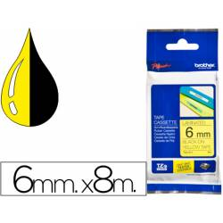 Cintas Brother TZE-611 6mm (ancho) x 8m (largo) laminada amarillo/negro