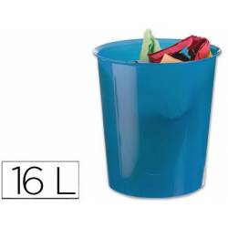 Papelera plástico Q-Connect azul transparente 16 litros