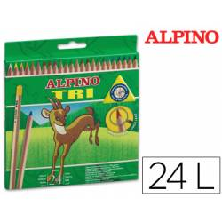 Lapices de colores Alpino triangulares caja de 24 unidades