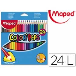 Lapices de colores triangulares Maped caja de 24 unidades mina 5 mm