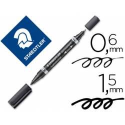 Rotulador Permanente Staedtler Lumocolor Dúo 348 Negro Doble Punta
