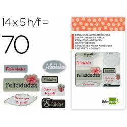 """Etiquetas """"Felicidades"""" marca Liderpapel"""