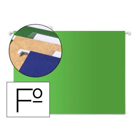Carpeta colgante marca Liderpapel Folio Kraft verde