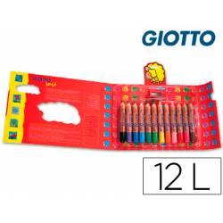 Lapices de colores Giotto redondos bebe caja de 12 lapices grueso 104 mm