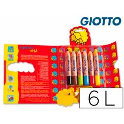 Lapices de colores Giotto redondos bebe caja de 6 lapices 104 mm