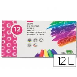 Lapices cera blanda Liderpapel caja de 12 unidades