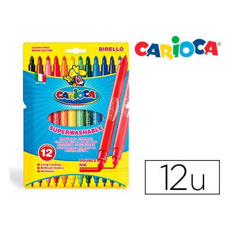 Rotulador Carioca Birello Duo grueso y fino caja de 12 rotuladores