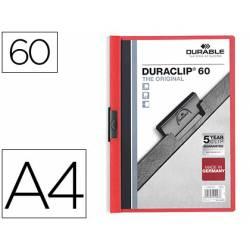 Carpeta dossier con pinza central duraclip Durable 60 hojas Din A4 rojo