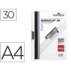 Carpeta dossier con pinza central duraclip Durable 30 hojas Din A4 blanco