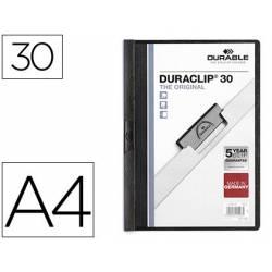 Carpeta dossier con pinza central duraclip Durable 30 hojas Din A4 negro
