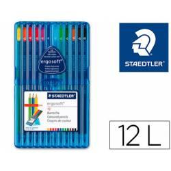 Lapices de color Staedtler Ergosoft triangulares finos estuche de plastico con 12 unidades