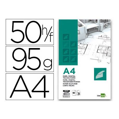 Bloc Papel Vegetal Liderpapel A4 95g/m2 50 hojas