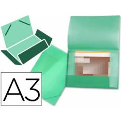 Carpeta de gomas lomo flexible con solapas Liderpapel Din A3 verde