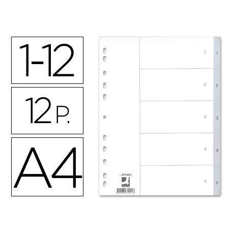Separadores de plastico Q-Connect numericos multitaladro 1-12 A4