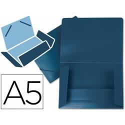 Carpeta lomo flexible gomas con solapas Liderpapel Din A5 azul opaco