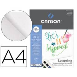 Bloc dibujo Multitecnicas marca Canson Lettering Mix Media 24x32 cm 200 g/m2