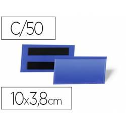 FUNDA DURABLE MAGNETICA 100X38 MM PLASTICO COLOR AZUL VENTANA TRANSPARENTE PACK DE 50 UNIDADES